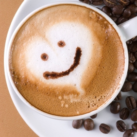 This cute cup of coffee is from a website called wholelattelove.com. I love that name and I love the smiley face on the foam heart. You gotta smile!