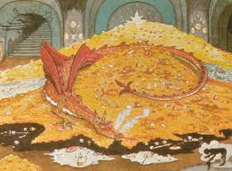 This picture of Smaug from The Hobbit is appropriate for a couple of reasons.  One the dragon looks benign.  He's not!  And he's protecting his pile of money.  Hmmmmm.
