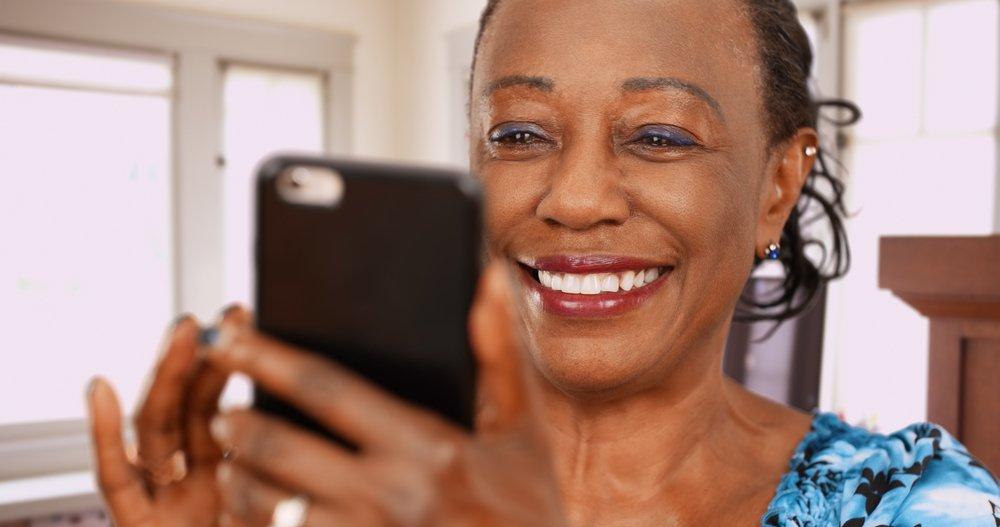 women viewing her phone